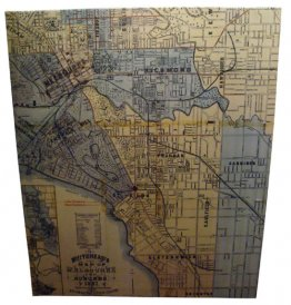 Canvas Art 100x120cm Whiteheads 1887 Map of Melbourne