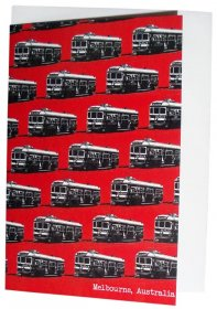 Greeting Card A6 Trams Red