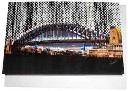 Greeting Card A6 Sydney Harbour Bridge Halftone Rain