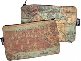 My Two Worlds Pencil Case 18x10cm Melbourne & Osaka Maps