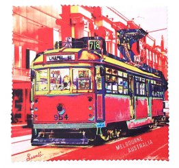 Glasses Screen Cloth 14cm Chapel Street Tram Red