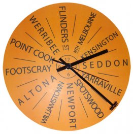 Clock 27cm Personalised Destination Sunny (your own 12 destinations)
