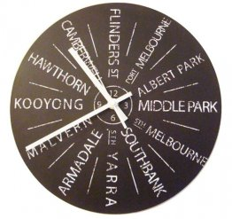 Clock 27cm Personalised Vintage (your own 12 destinations)