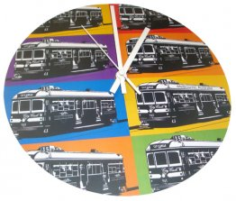 Clock 27cm Pop Art Trams