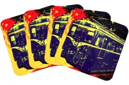 Coasters Set of 4  Harris Train On Spilt Ink