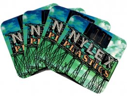 Coasters Set of 4 Nylex PlasticSign Green