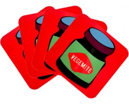Coasters Set of 4 Vegemite Red