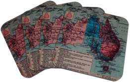 Coasters Set of 4  Australian Map 1923