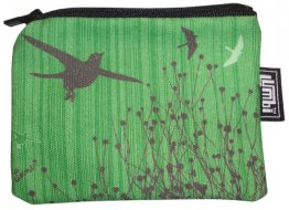 Ipod / Coin Case 13x9cm Bird Stripe Green