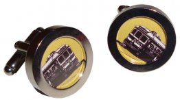 Cuff Links Trams Yellow