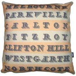 Cushion Vintage Destination Stripes Melbourne to Northcote