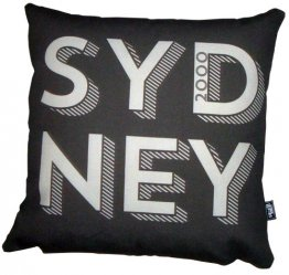 Cushion Sydney Text Black/Silver