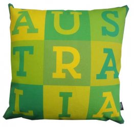 Cushion Australia Text Green & Gold