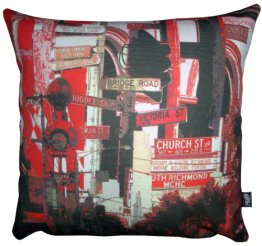 Cushion Richmond Signs Collage Red
