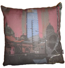 Cushion Melbourne Collage Red