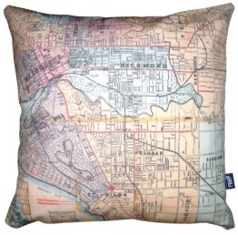 Cushion Whiteheads 1887 Map of Melbourne