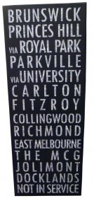 Canvas Art 45x120cm Tram Bus Destination Scroll Banner Vintage Black