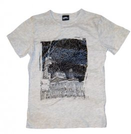 T-Shirt White-Marle Cotton Flinders St Etchings A3