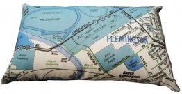 Cushion 50x30cm Flemington Racecourse Blue Map