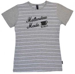 Blak Grouse Stripe T-Shirt with Grey Sleeves 1hundred% Melbourne Made