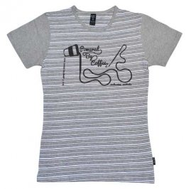 Blak Grouse Stripe T-Shirt with Grey Sleeves Powered By Coffee Paint Brush