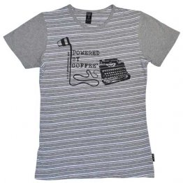 Blak Grouse Stripe T-Shirt with Grey Sleeves Powered By Coffee Typewriter