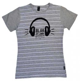 Blak Grouse Stripe T-Shirt with Grey Sleeves Headphones