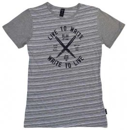 Blak Grouse Stripe T-Shirt with Grey Sleeves Live to Write