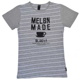 Blak Grouse Stripe T-Shirt with Grey Sleeves MELBN MADE coffee