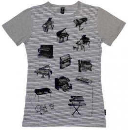 Blak Grouse Stripe T-Shirt with Grey Sleeves Piano Pattern