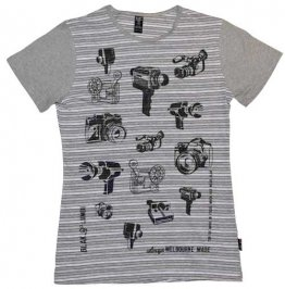 Blak Grouse Stripe T-Shirt with Grey Sleeves Video Cameras