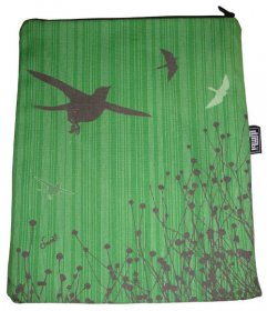 iPad Cover with Zipper Bird Stripe Green
