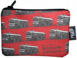 Ipod / Coin Case 13x9cm Trams Red