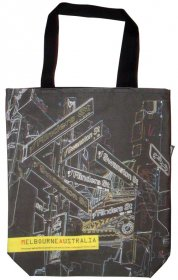 Large Tote 40x30x10cm Melb Streets Black Neon