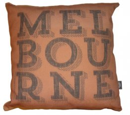 Cushion Melbourne Text Vintage Choc