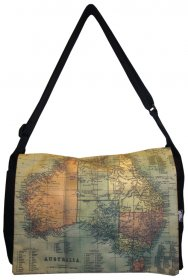 midi Satchel Bag 33x25x7cm Australia 1870 Map