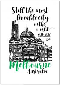 Tea Towel 50x70cm Linen/Cotton Melbourne Most Liveable City 2017