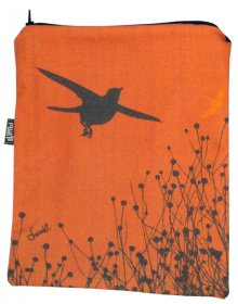 iPad Cover with Zipper Birds Stripe Orange