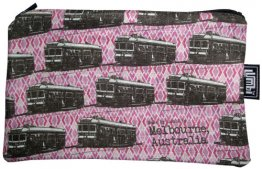Pencil Case 18x10cm Trams on Pink Diamonds