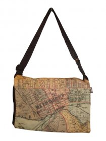 midi Satchel Bag 33x25x7cm Whiteheads 1887 Map of Melbourne