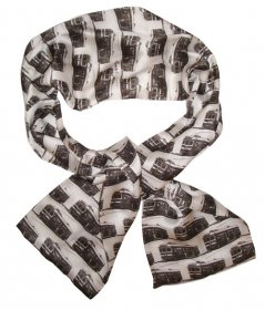 Silk Scarf 150x16cm Trams White