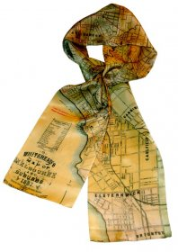 Silk Scarf 150x16cm Whiteheads 1887 Map of Melbourne