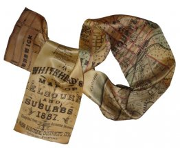 Silk Scarf 150x16cm Whiteheads 1887 Map of Melbourne CBD