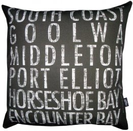 Cushion Destination Scroll South Coast to Encounter Bay Vintage (Various Colours)