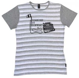 Blak Summer Stripe T-Shirt with Grey Sleeves Powered by Coffee Typewriter