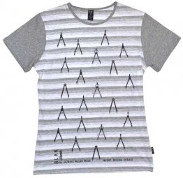 Blak Summer Stripe T-Shirt with Grey Sleeves Compass Print