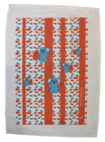 Tea Towel 50x70cm Linen/Cotton Koala Fun