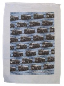 Tea Towel 50x70cm Linen/Cotton Trams Blue