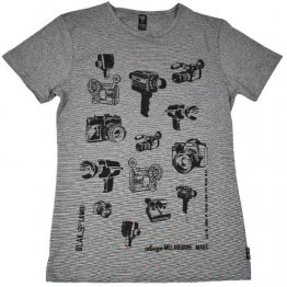 Blak Winter Stripe T-Shirt with Movie Cameras