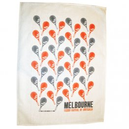 Tea Towel 50x70cm Linen/Cotton Melbourne Tennis Capital Racquets